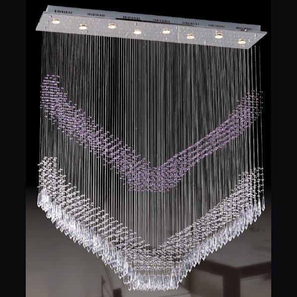 【LA LUCE】ワイヤーアート・クリスタルシーリングシャンデリア 8灯 クローム(1300×300×H1500mm)