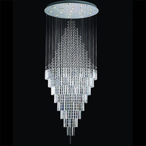【LA LUCE】ワイヤーアート・クリスタルシーリングシャンデリア 16灯 クローム(φ1060×H2560mm