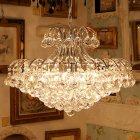 <b>【在庫有!】【LA LUCE】</B>デザインクリスタルボールシャンデリア 10灯(φ600×H450mm)