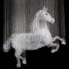<B>【LA LUCE】</B>ワイヤーアート・クリスタルシーリングシャンデリア『馬』16灯(W1530×D800×H1900mm)