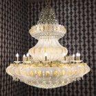 【LA LUCE】クリスタルシャンデリア 58灯 ゴールド&ホワイト(W1500×H1150mm)