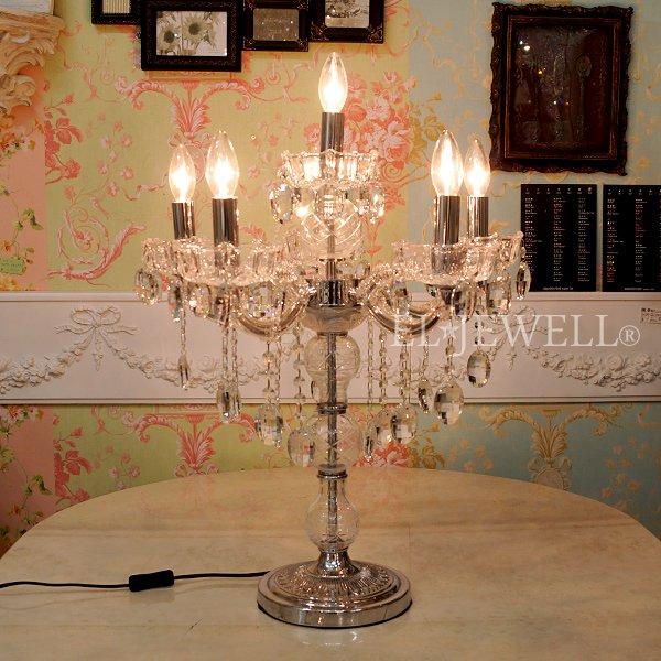 【在庫有!】【LA LUCE】 クリスタルテーブルライト 6灯(W530×H750mm)