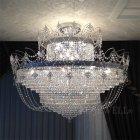<B>【LA LUCE】</B>クリスタルシーリングシャンデリア 36灯 クローム(W900×H900mm)