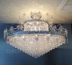 <B>【LA LUCE】</B>アスフールクリスタルシーリングシャンデリア 36灯 クローム(W1000×H900mm)