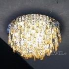 <B>【LA LUCE】</B>デザインクリスタルシーリングシャンデリア クローム(W600×H350mm)