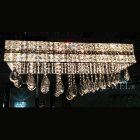 <B>【LA LUCE】</B>デザインクリスタルスクエアシャンデリア 12灯 クローム(W700×D200×H340mm)