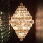 【LA LUCE】クリスタルシャンデリア 30灯 ゴールドorクローム(φ900×H1450mm)