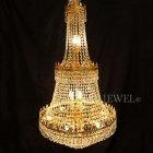 <B>【LA LUCE】</B>エンパイア型クリスタルシャンデリア ゴールド(W710×H1270mm)