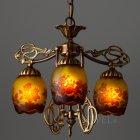 <B>【galle】</B>-ガレ・コレクション- ペンダントランプ 3灯 アンティークブロンズ「薔薇」(φ420×H350mm)