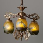 <B>【galle】</B>-ガレ・コレクション- ペンダントランプ 3灯 アンティークブロンズ「蜻蛉」(φ420×H350mm)