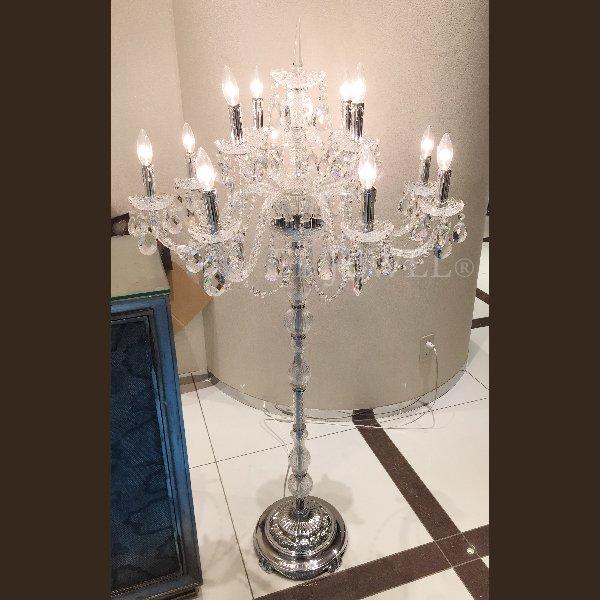 【在庫有!】 クリスタル・フロアシャンデリア 15灯 (φ770×H1550mm)