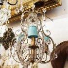 <B>【在庫有!】【BAROQUE】</b>オランダ製アンティーク調シェードシャンデリア ゴールド 3灯(φ400mm)