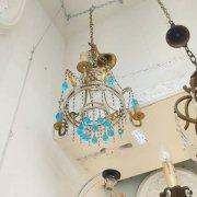 <b>【1台在庫有!】【P&P.srl】</B>イタリア製 アンティーク調シャンデリア 3灯  ゴールド(φ360×370Hmm)