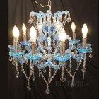 <B>【LA LUCE】</B>クリスタルシャンデリア 10灯 ブルー(φ650×H600mm)