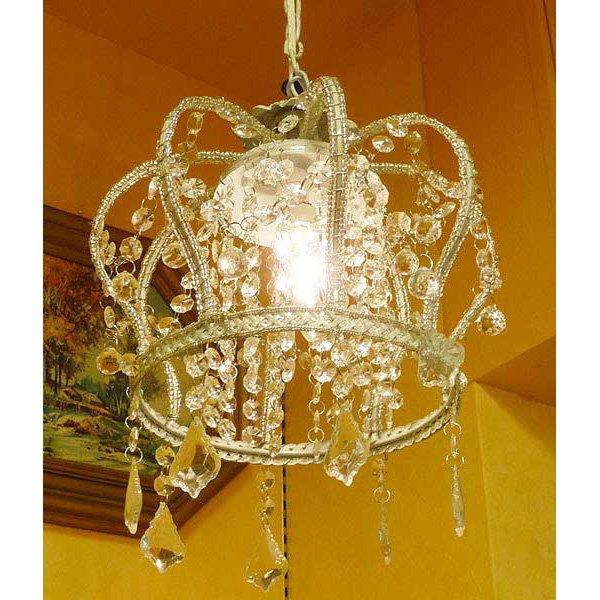 アンティーク調ミニシャンデリア1灯「クラウン−ホワイト」(φ250×H300mm)