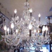 <B>【在庫有!】【LA LUCE】</B>チェコorスワロフスキークリスタルシャンデリア 15灯 クロームorゴールド(W790×H850mm)