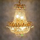 【LA LUCE】エンパイア型クリスタルシャンデリア 6灯(W420×H500mm)