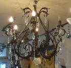 <B>【ALABASTER】</B>クリスタル アイアンシャンデリア 6灯 アンティークブラウン(W700×H650mm)