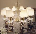 【LA LUCE】</B>チェコクリスタルシェードシャンデリア 8灯 ゴールド(W700×H750mm)