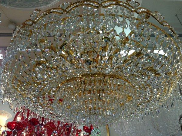 【シャンパンゴールドのみ在庫有!】【LA LUCE】 エンパイア型クリスタルシャンデリア22灯(W820×H590mm)