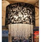 【1台在庫有!】【LA LUCE】ブラックシェードクリスタルボールシャンデリア 5灯(W800×H800mm)