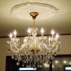<B>【LA LUCE】</B>スワロフスキーストラスシャンデリア 10灯 ゴールドorクローム(W780×H600mm)