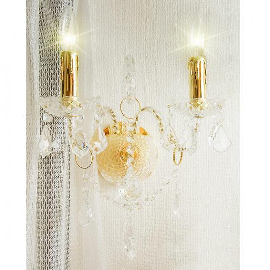 【在庫有!】【LA LUCE】 クリスタルブラケット2灯・ゴールド (W360×H360mm)