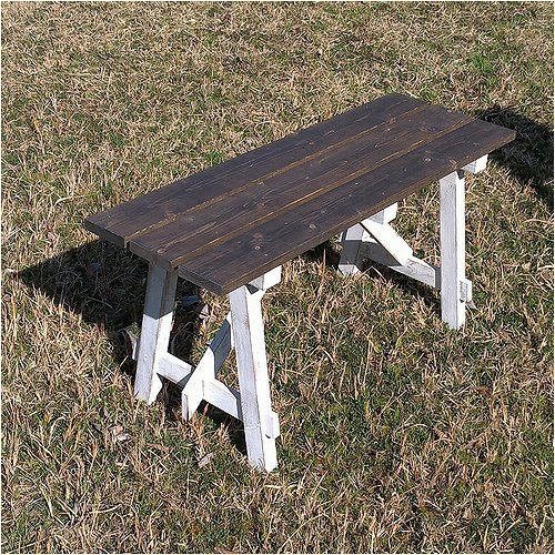 アンティークウッドの長いすベンチ
