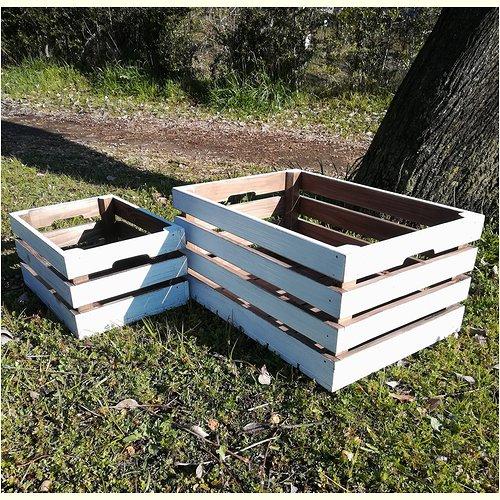 アンティークウッドの収納ボックス 小&大セット