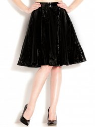 PVCフレアミディアムスカート/黒【取寄(1〜3ヶ月)先払】【返品不可】ww-h2152☆HNRスカート