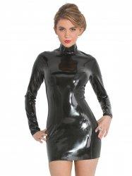 ww-r1484黒 ラバー・バックジップ・ミッドナイトドレス【取寄(1〜3ヶ月)先払】【返品不可】
