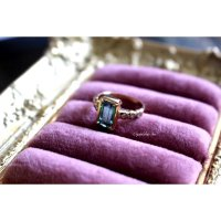 アフガニスタン産グリーントルマリンwithダイヤモンドのリング(k18)