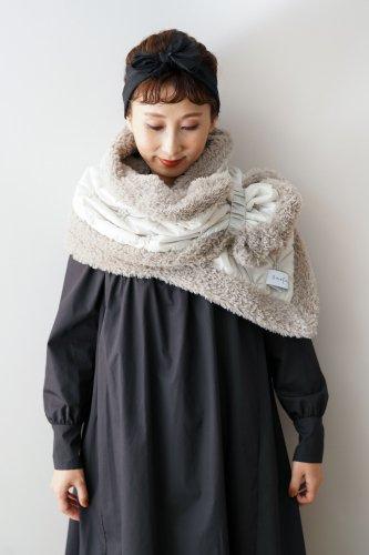 BANSAN 2way Cushion Quilting Fur Cape(Gray)