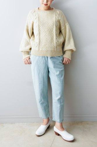 WONDER FULL LIFE Hand knit sweater(Off white)