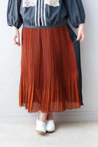 BASAN 2Way Gloss Pleat Skirt (Black×  Brown)