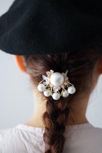 Joelle mani Evan Hair clip (Pearl×Gold beads)