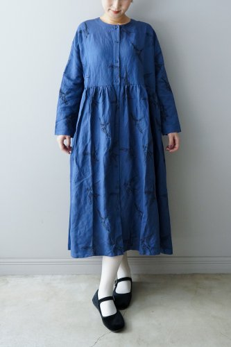 LILOU+LILY embroidery One piece  (Blue)