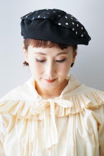 バラ色の帽子 Dots beret(Black)