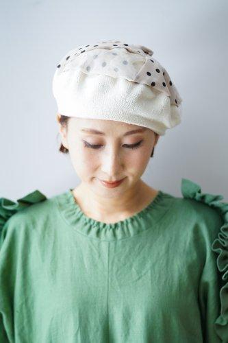 バラ色の帽子 Dots beret(Ivory)