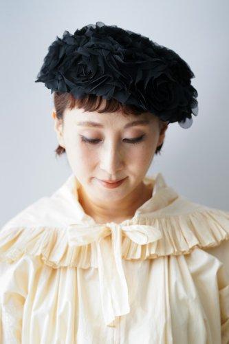 タグなし-バラ色の帽子 Flower chiffon beret(Black)