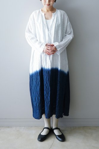 Heriter Embroidery long‐sleeved one-piece (White)