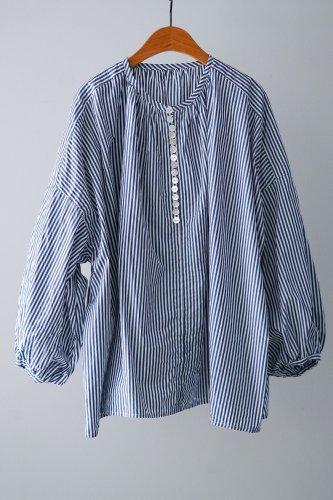 UNIVERSAL TISSU  Cotton Gather Blouse  (Blue)