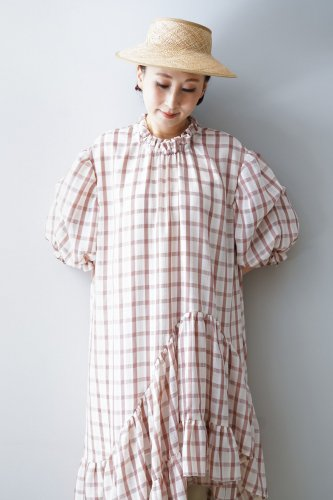 【sale】HOUGA Emily dress(Pink-Checked)-20%OFF