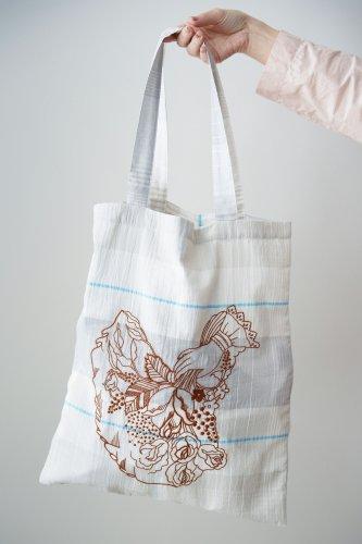 mudoca  Embroidery eco bag(Pale gray)