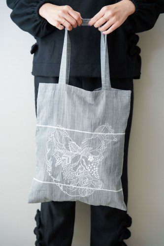 mudoca  Embroidery eco bag(Charcoal gray)