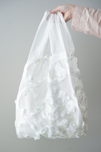 mudoca Tape embroidery Bag (Off-white)-M-size