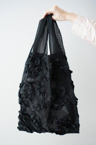 mudoca Tape embroidery Bag (Black)-M-size