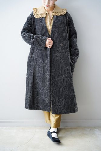 Heriter Quilted embroidery coat(Dark gray)