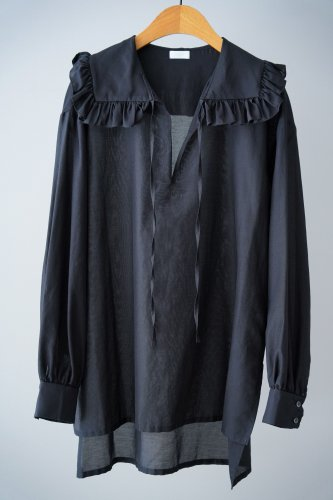 Heriter Ruffle color pullover(Black)