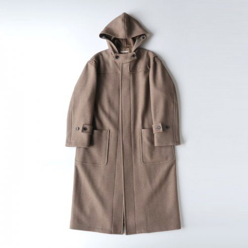 WOOL SILK MELTON LONG DUFFLE CORT